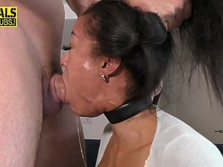 Kinky submissive deep throats and rides cock