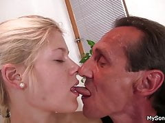 Old father-in-law seduces blonde girl into sex