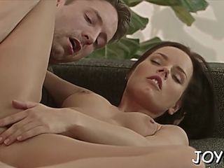 Cock riding by cheerful brunette kari