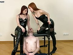 Double Spitting Humiliatrix Femdom With Two Latex Goddesses