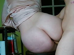 Big cumshot on big boobs of my stepmom after breakfast.