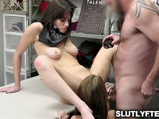 Dakota Burns and Mia Taylor fucked spreadeagle over the table