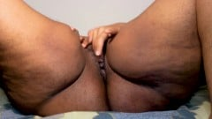Horny ebony MILF is so horny, so she fingers herself until gets a big squirt in front of you