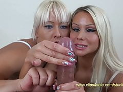 Two blonde whores wank cock