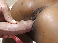 Interracial doggystyle close up and creampie