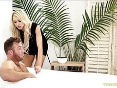 Attractive blonde fucking a homeless guy and getting caught