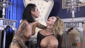 Inked Dom Chick Roughs Up Blonde W Double Dildo With Joanna Angel And Brett Rossi