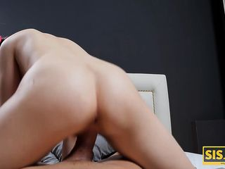 SISPORN. Teen is banged in pussy in different poses by the stepbr